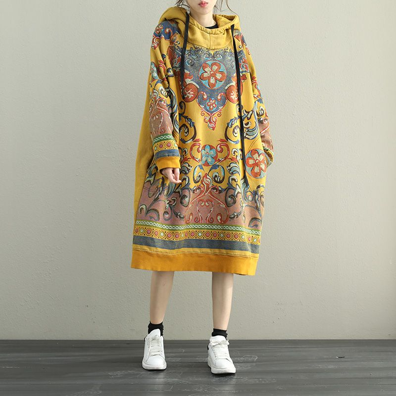 9c921ccb505 Spring Fashion Fleece Lining Korean Dress Loose Cotton Hoodie Dress  dress   Korean  style  cotton  plussize  vintage  hoodie  style  yellow
