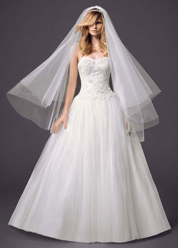 Strapless Pleated Bodice Tulle Ball Gown Wedding Dress Ivory David\'s ...