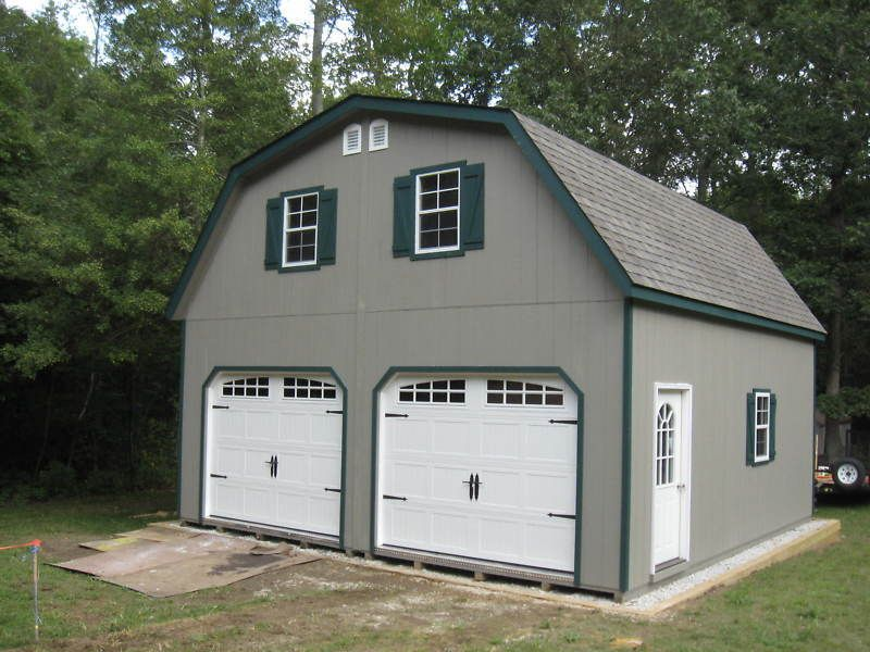 Details about AMISH 20x20 DOUBLE WIDE GARAGE GAMBREL ROOF