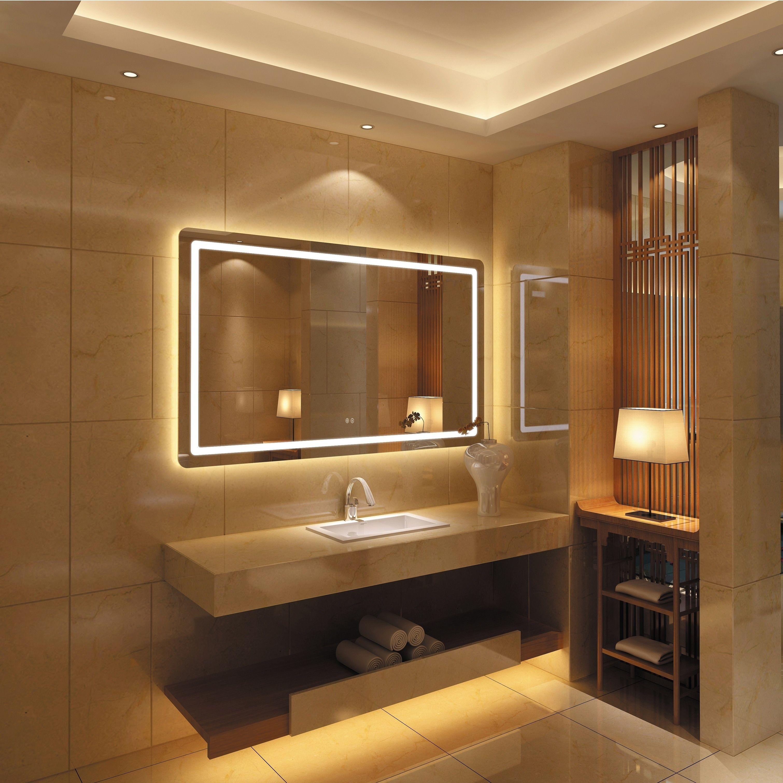 Frameless Wall Mounted Led Bathroom Mirror White Led Mirror Bathroom Bathroom Design Bathroom Mirror [ 3021 x 3021 Pixel ]