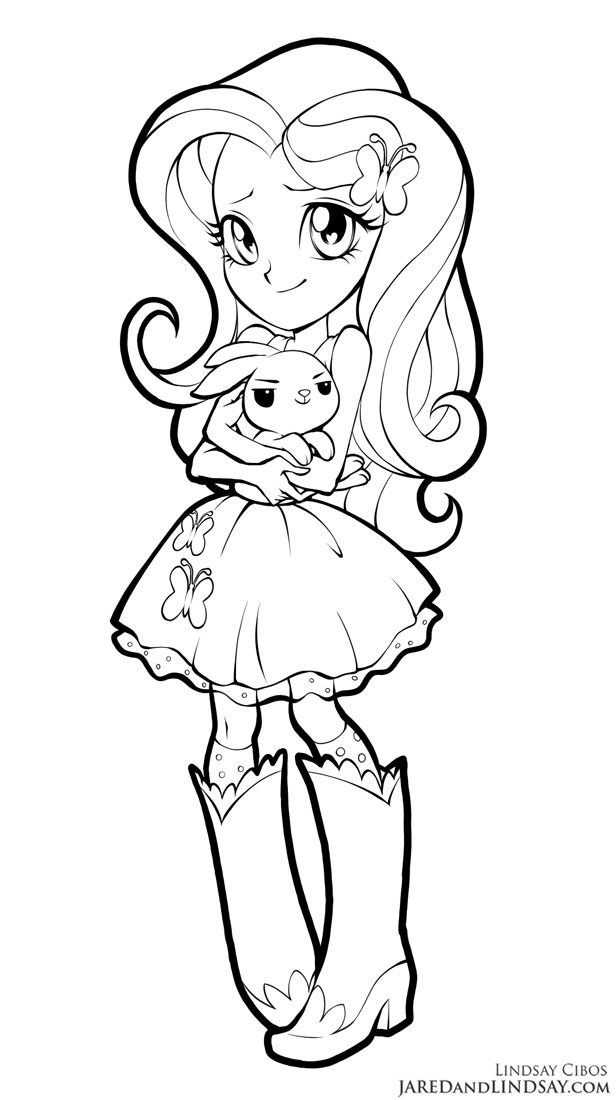 Fluttershy - Equestria Girls by LCibos | coloring pages ...