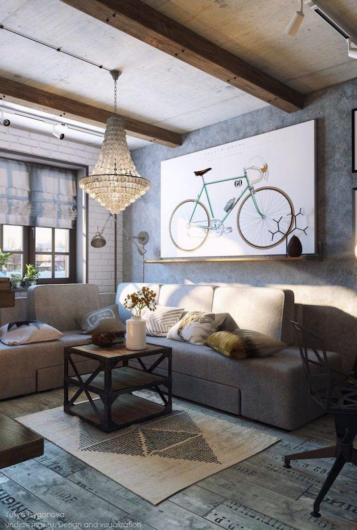 Wanddeko Wohnzimmer, Kronleuchter Aus Kristall, Großes Bild Mit Fahrrad,  Einrichtungideen | Wohnzimmer Ideen U0026 Inspiration In 2018 | Pinterest