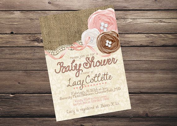 Awesome Burlap Lace Pink Baby Shower | Shabby Chic Rustic Burlap Lace Baby Shower  Invitation PRINTABLE!