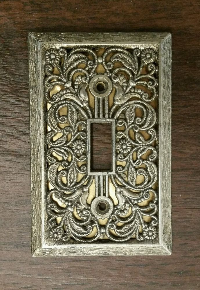 vintage antique brass switch plate cover excellent filigree victorian style