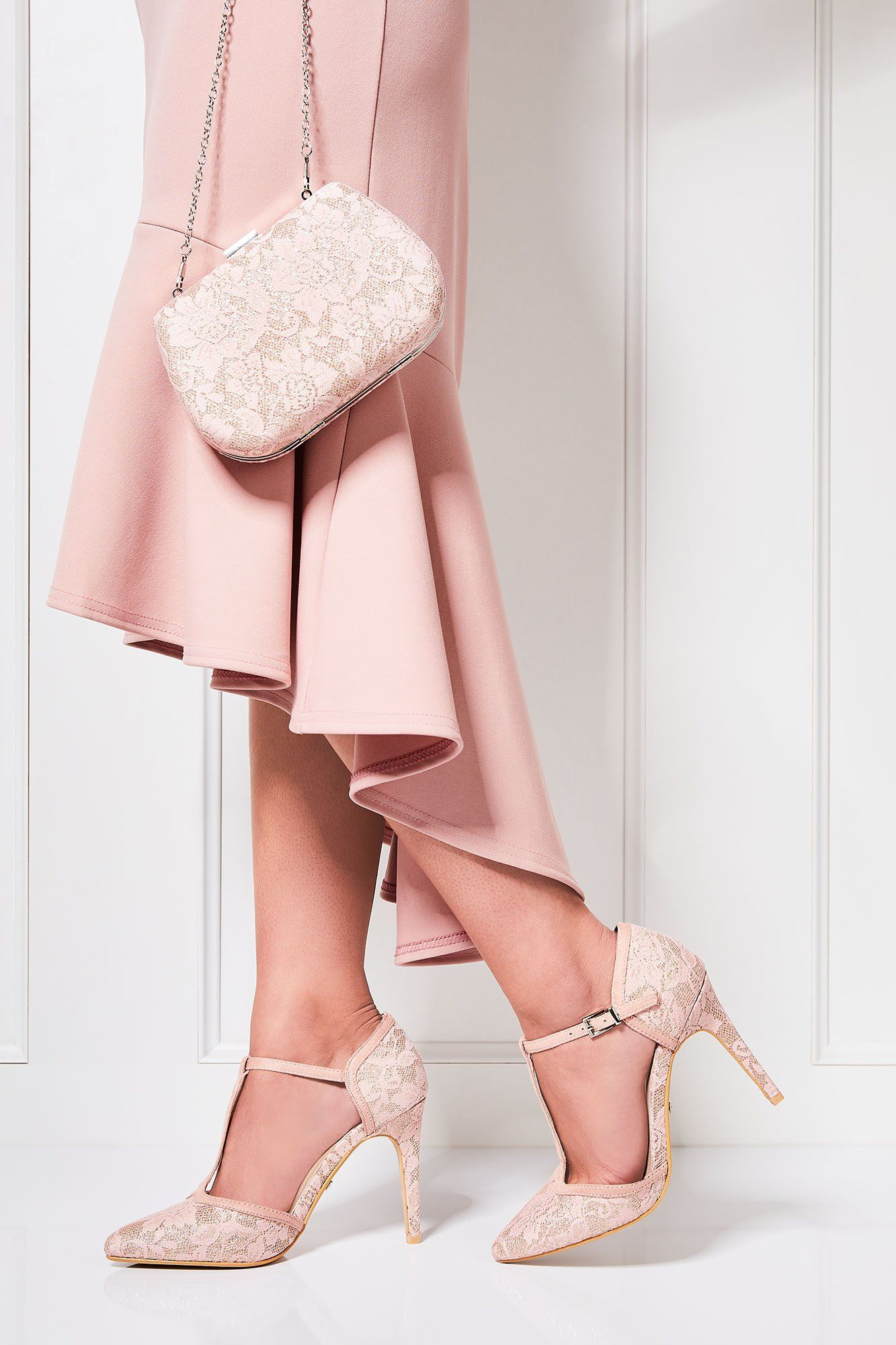 Pink Glitter Lace T-Bar Heeled Shoes