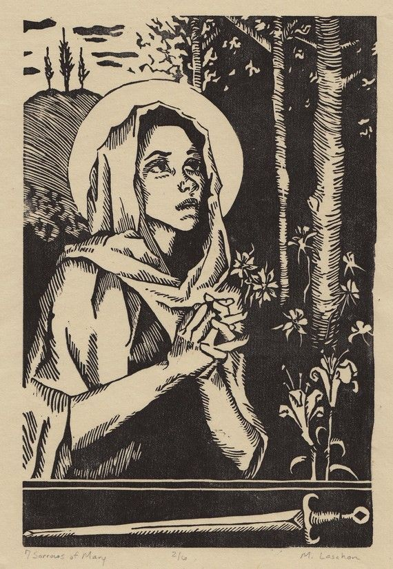 Seven Sorrows Of Mary Linocut Print With Images Linocut