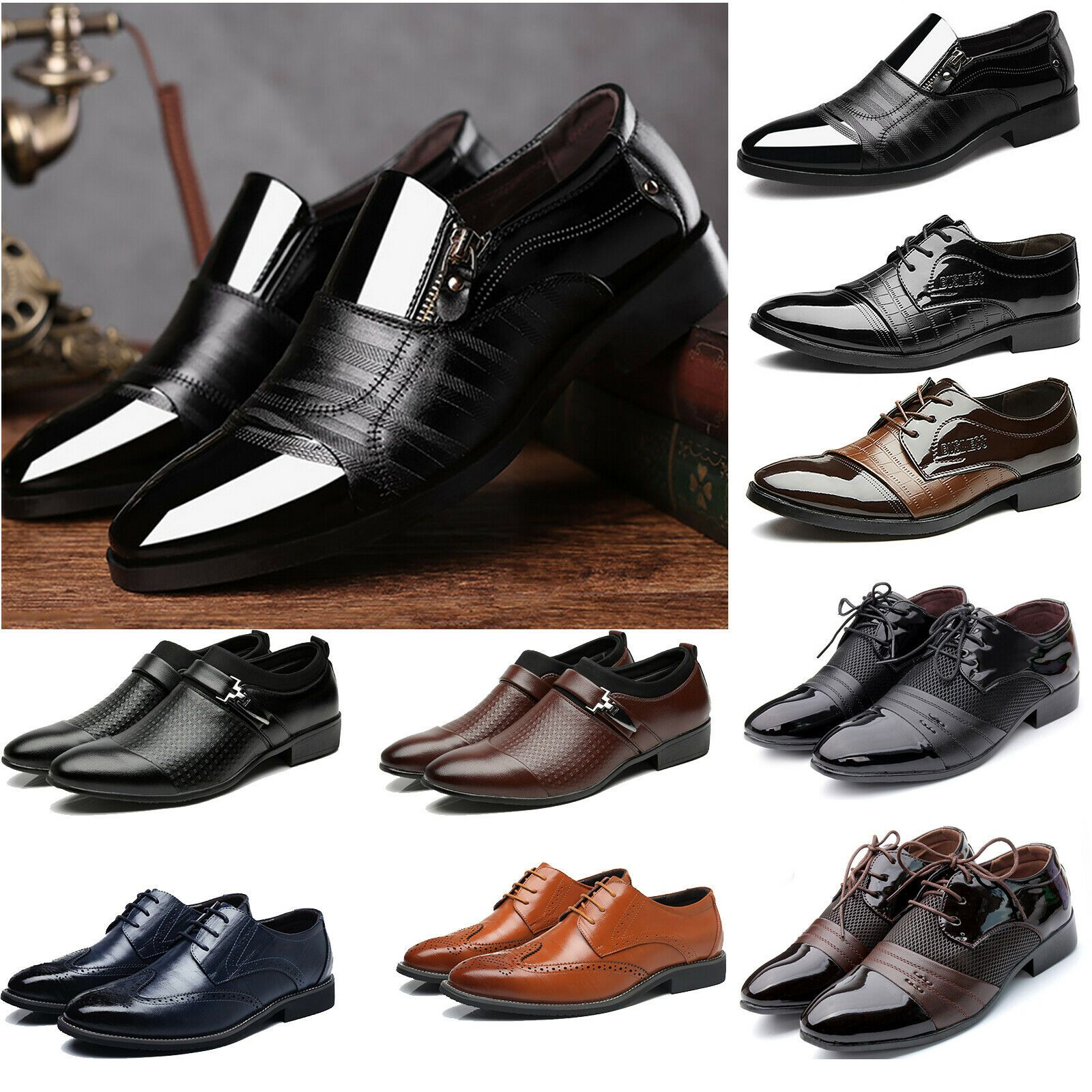 Men Dress Tuxedo Formal Oxfords Shoes Suit Lace up Brogue Wing Tip Wedding Party