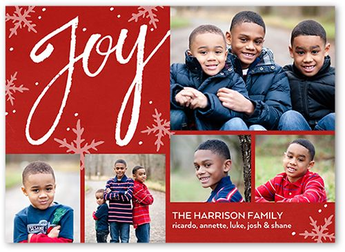 Joyous Sentiments Christmas Card, Square Corners, Red Shutterfly