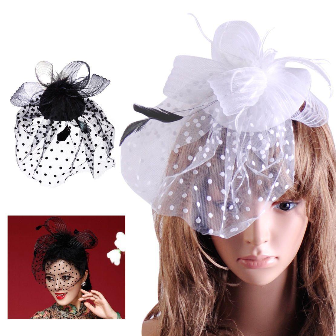 c89396a971783 Lady Top Net Mesh Hat Fascinator Hair Clip Wedding Church Party Veil Feather