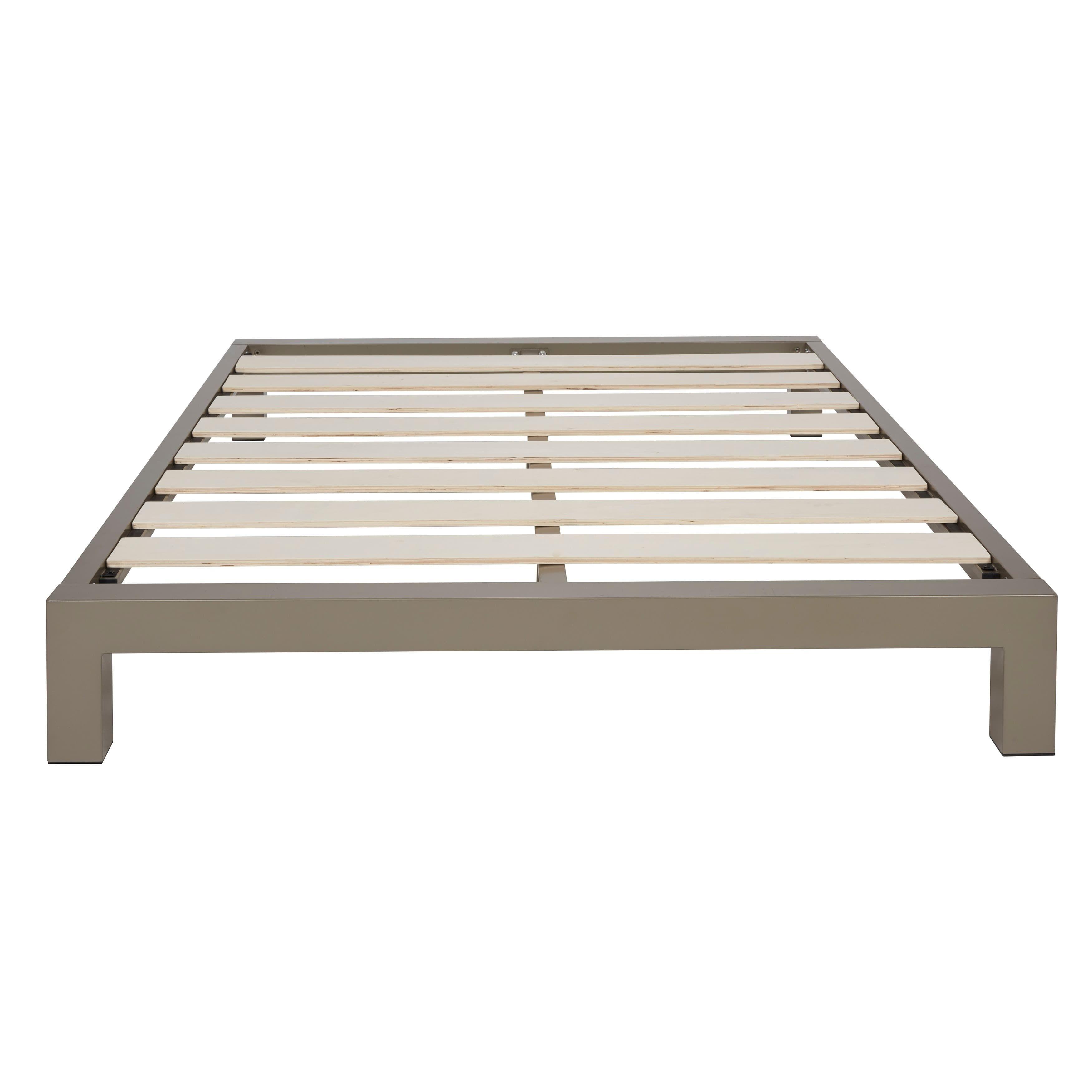 Vesta Champagne Metal Platform Bed Metal Platform Bed Platform