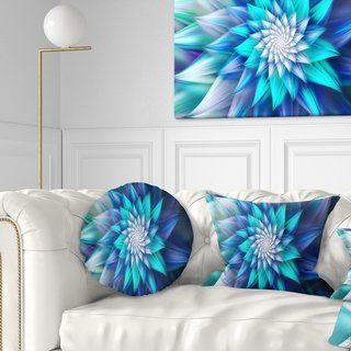 Designart 'Large Blue Alien Fractal Flower' Floral Throw Pillow