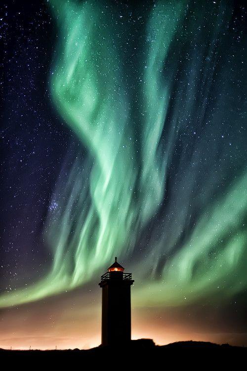 Aurora Borealis Over Stafnes Lighthouse, Iceland