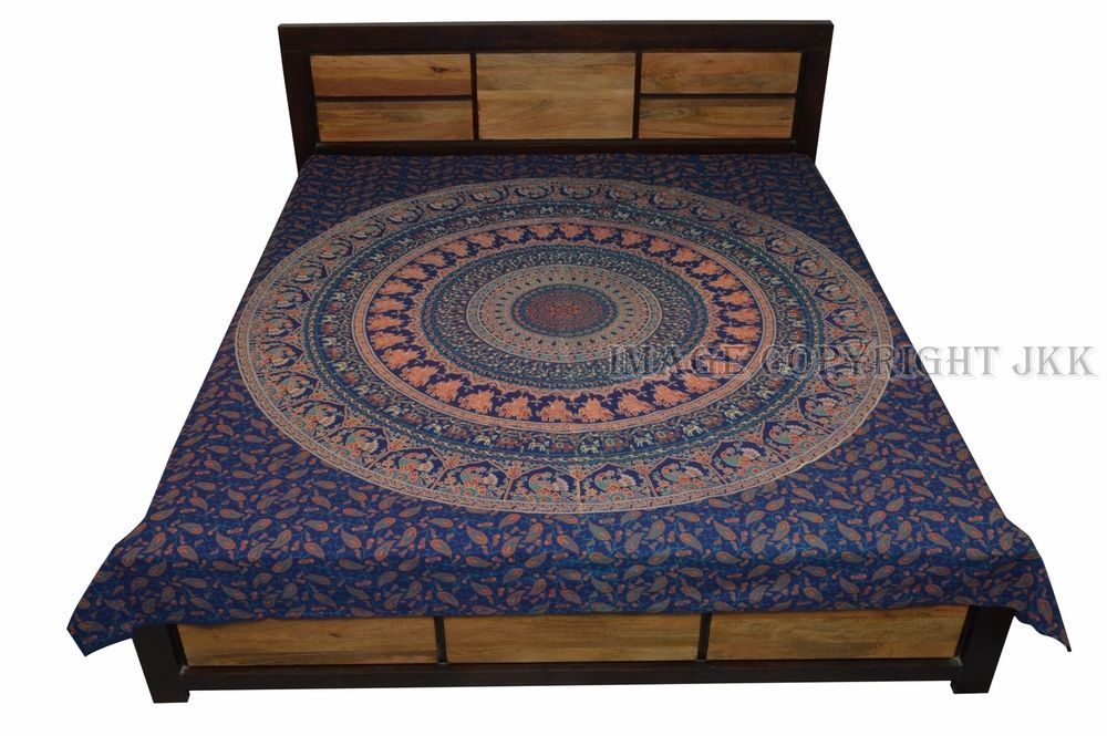 Blue Mandala Printed Decor Bed Cover Cotton Double Bed Sheet Indian IWUS BD18 #Handmade