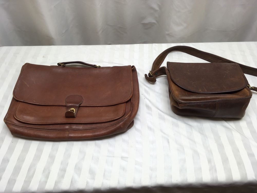 1b058f608dec 2 - VTG Coach Brown Leather Briefcase Messenger Crossbody Business Laptop  Bags