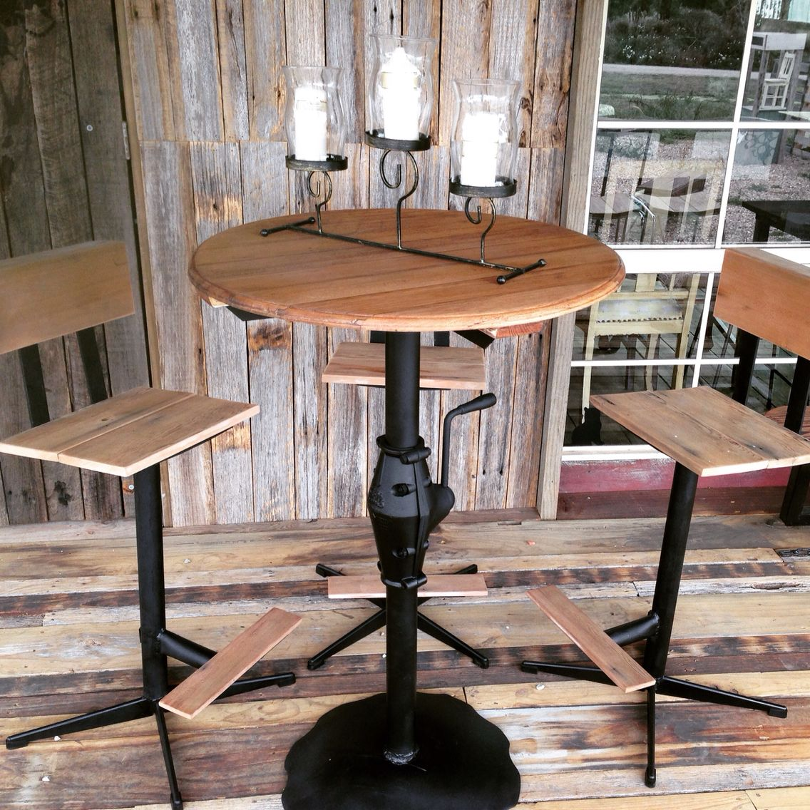 4 Piece Mancave Bar Table And Stools Upcycled From Hills Hoist Plough Disc Reclaimed Cedar S Streel 350 More Furniture Available