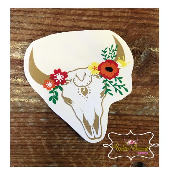 Floral Skull Decal Shop Sophie Breanna Designs On Etsy EtsyShop - Custom vinyl decals for laptop