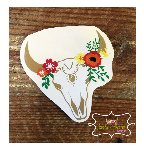 Floral Skull Decal Shop Sophie Breanna Designs On Etsy EtsyShop - Custom vinyl decals etsy