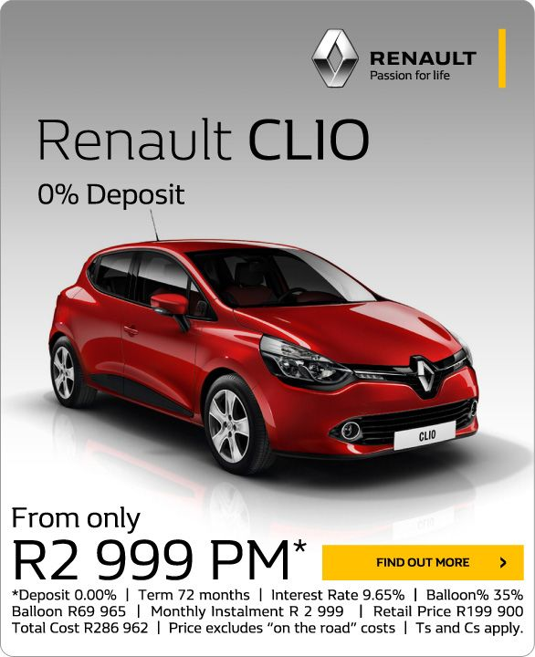 New Renault Clio From R2 999pm With 0 Deposit Retail Price R199