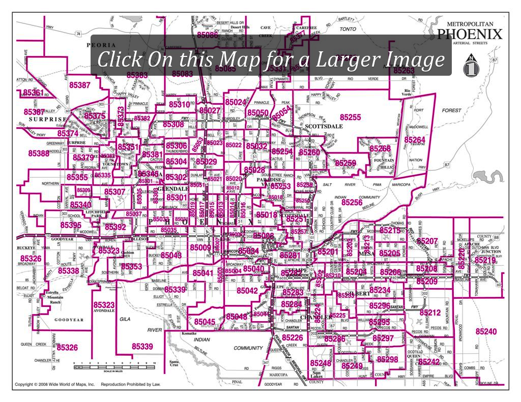 A Large Map of Phoenix Area Zipcodes. This is a great quick ...