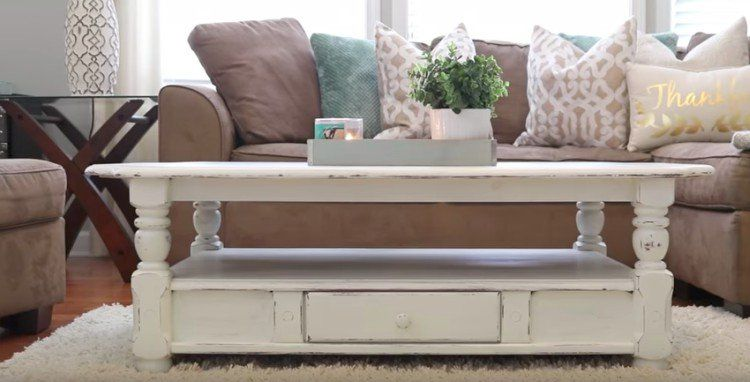 white farmhouse table in living room Youtube on how to chalk paint and old table