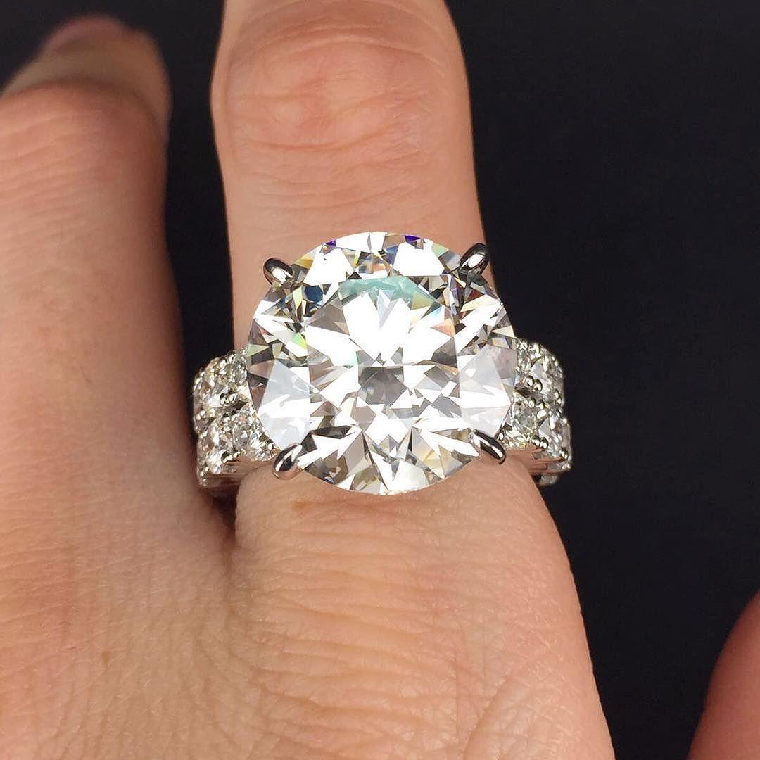 10 Carat Round Diamond Ring Custom Made For Client For More Information Www Diamondregistry Com Custom Diamond Jewelry Round Diamond Ring Diamond Jewelry