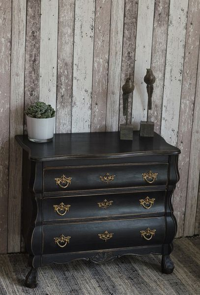 edle shabby chic barock kommode in schwarz von. Black Bedroom Furniture Sets. Home Design Ideas
