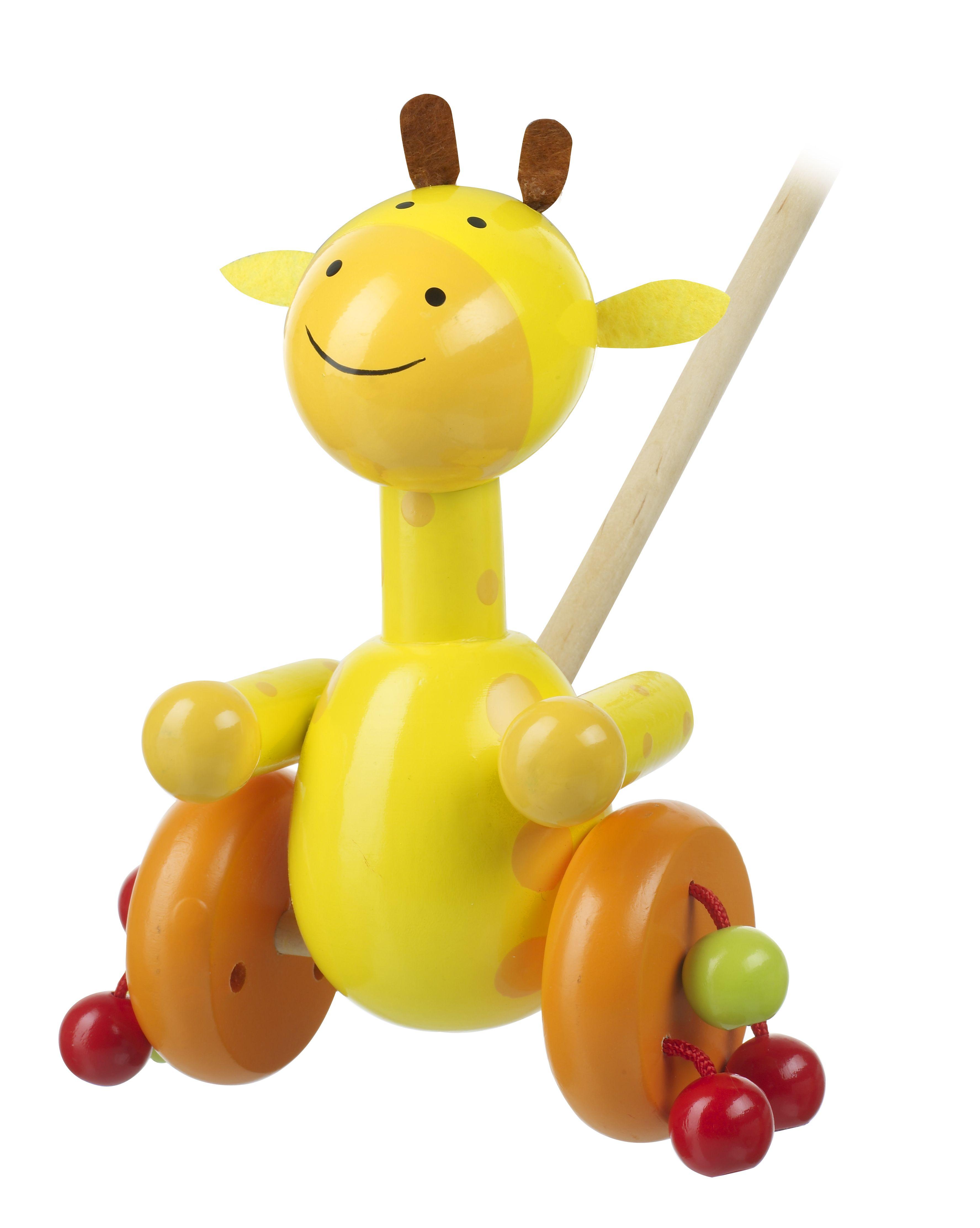 Children s wooden giraffe push along Safari Range