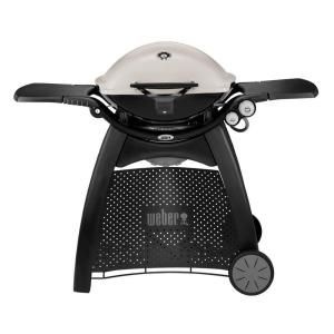 Weber Q 3200 2 Burner Propane Gas Grill In Titanium With Built In Thermomter 57060001 The Home Depot Natural Gas Grill Gas Bbq Best Gas Grills