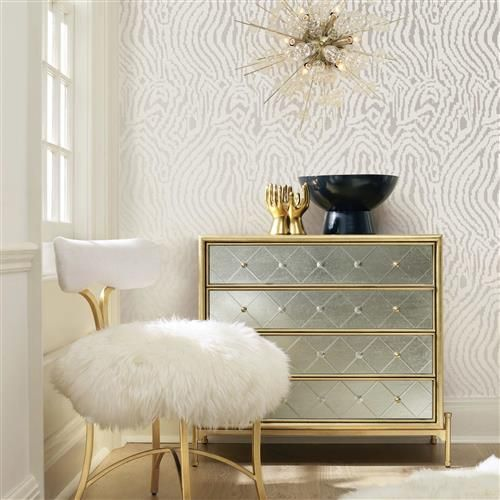 Silvery Zebra Modern Classic Removable Wallpaper | Kathy Kuo Home