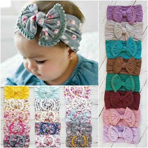 Nylon Baby Headbands, One Size Fits All, Baby headband, POM POM Knot Bow Headband, Baby Girl Headband Turban, Newborn Headbands Hair Bows #babyheadbands