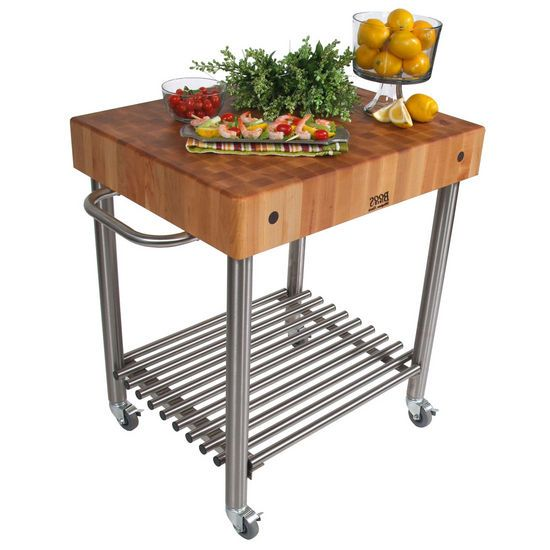 John Boos Stainless Steel Kitchen Carts with Butcher Block ...