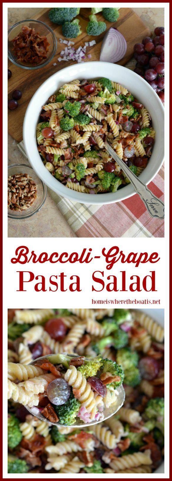 Potluck Broccoli-Grape Pasta Salad #potluckdishesforacrowd Broccoli-Grape Pasta Salad! A crowd-pleasing medley of sweet, tangy, crunchy and salty with the addition of toasted pecans and bacon. Perfect for your potluck or picnic! | homeiswheretheboatis.net #recipe