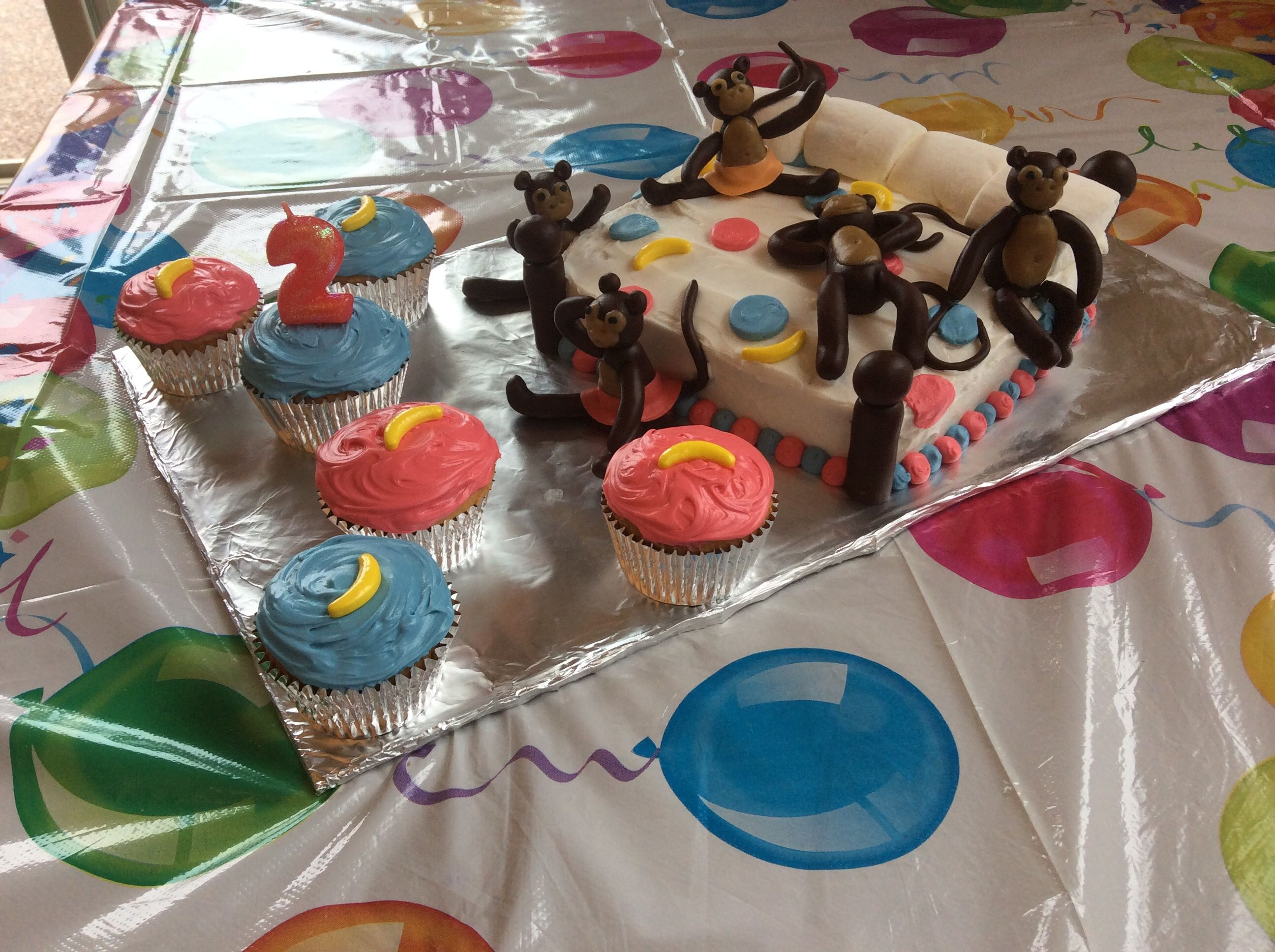 Five Little Monkeys Jumping On The Bed 2nd Birthday Cake