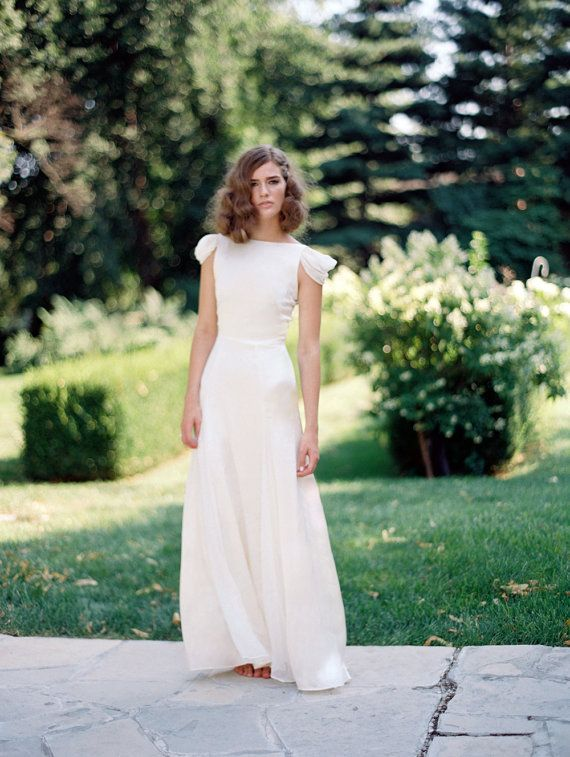 Retro Wedding Dress, Cap Sleeve Wedding Dress, Ivory Silk Modest ...