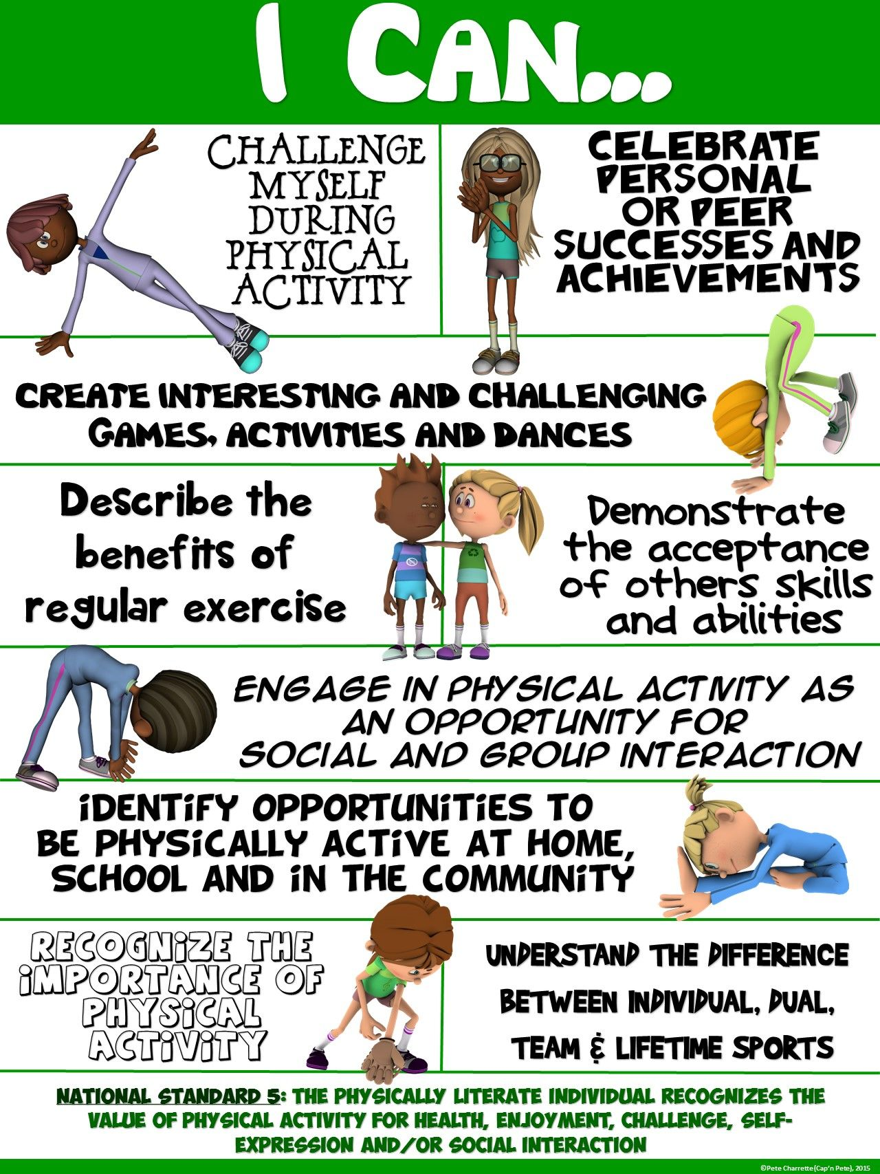 Pe Poster I Can Statements Standard 5 Seeing The Value Of Physical Activity