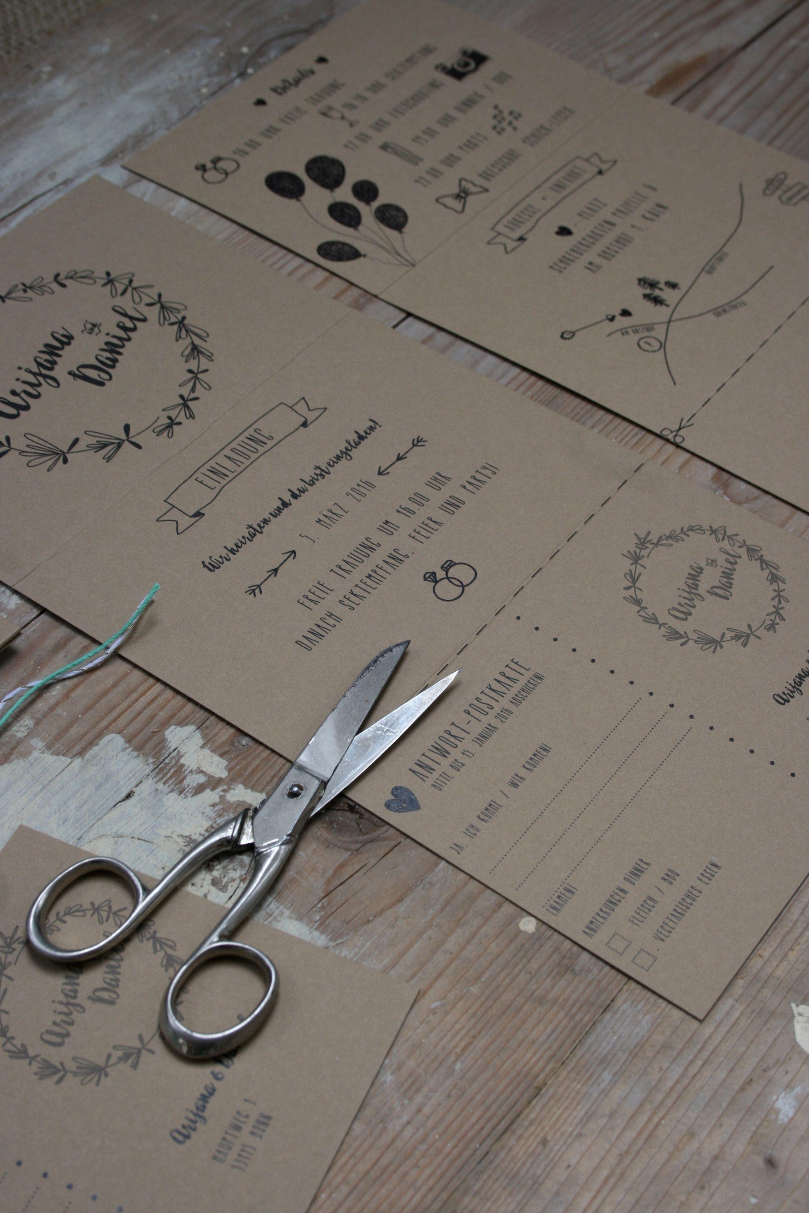 """Hochzeitseinladung """"Doodles & Kraftpapier"""" Set aus Einladung 6"""