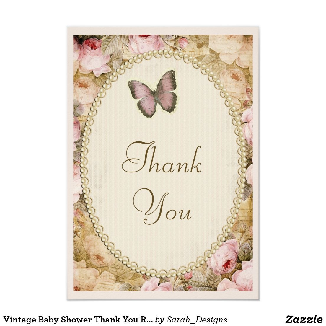 Vintage Baby Shower Thank You Roses Butterfly Card