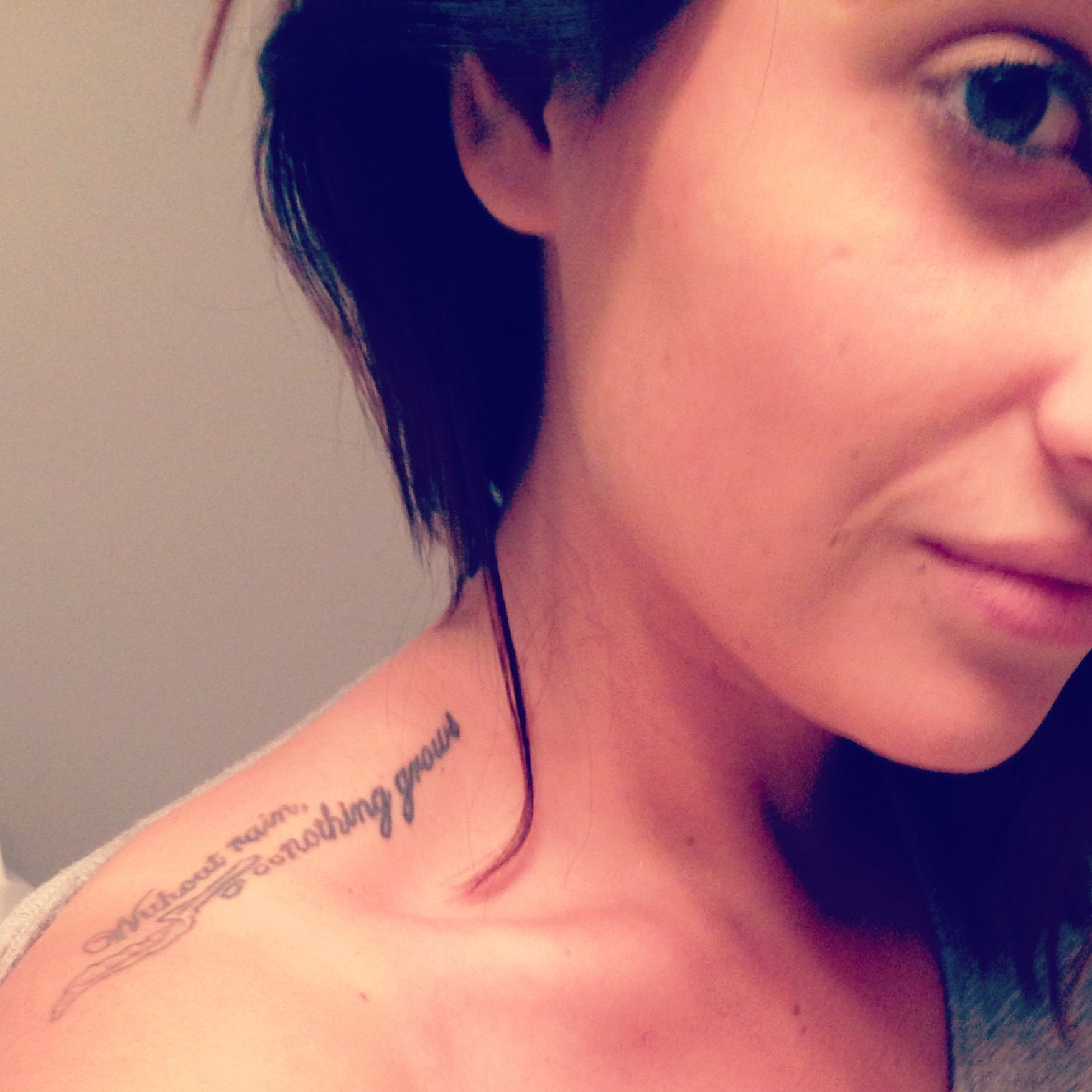 "Pretty shoulder tattoo with the quote ""without rain ..."