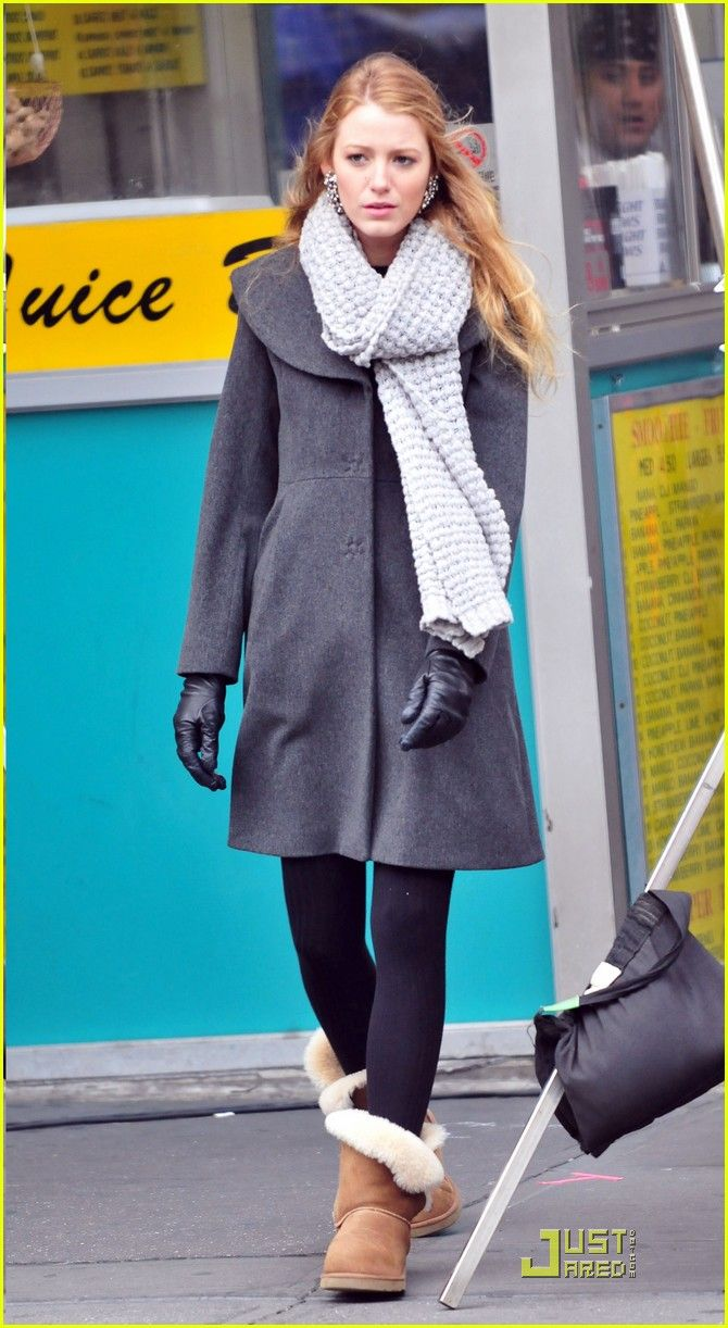 7f7160d91 Blake Lively uggs boots beige black leggings pants maxi coat grey white  scarf fall winter