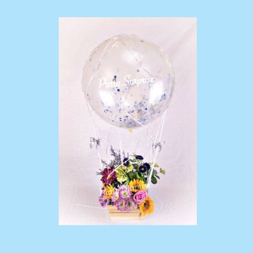 Hot Air Balloon Centerpiece 24″ Photo Op Confetti 19 Colors with Wood Basket, Sticks Fill Helium or Air DIY Custom Pkg Made in USA