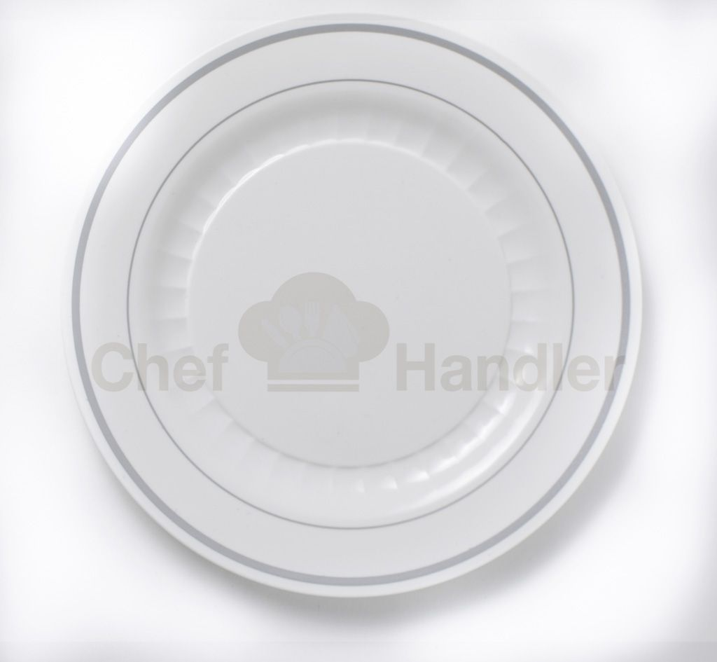 """Bundle Pack For 250 People. Create a sophisticated presentation at your next catered event or special meal with these two Silver accented band decorative White Plates.  Bundle Includes :  5 Box 7.5"""" Salad Plates - 250pcs 5 Box 10.25"""" Dinner Plates - 250pcs 2 Box Silverware Combo 360 pack - 160 Forks, 140 Spoons, 60 Knifes. ONLY $183.07 + S/H"""
