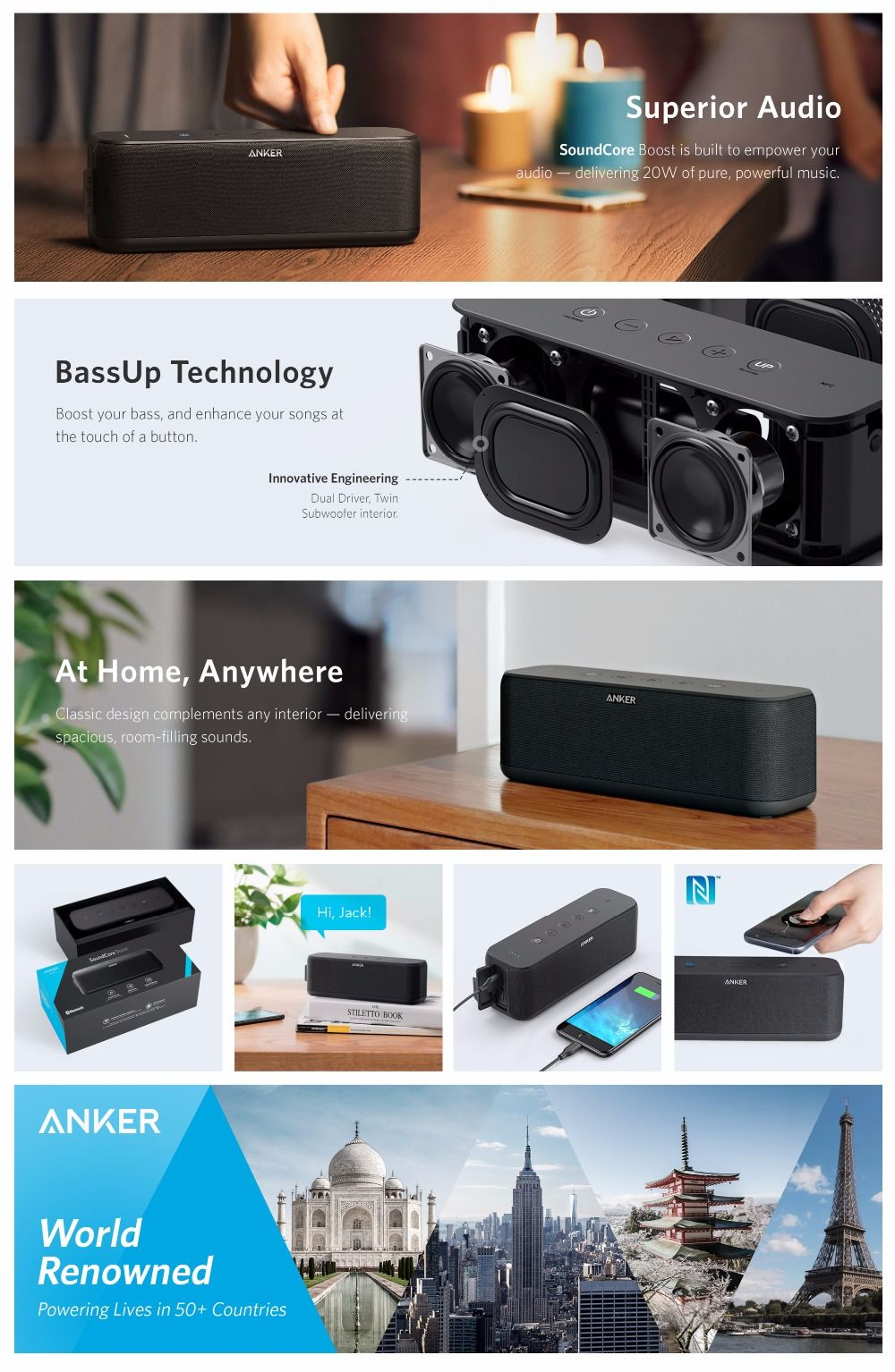 Anker SoundCore Boost 20W Bluetooth Speaker with BassUp