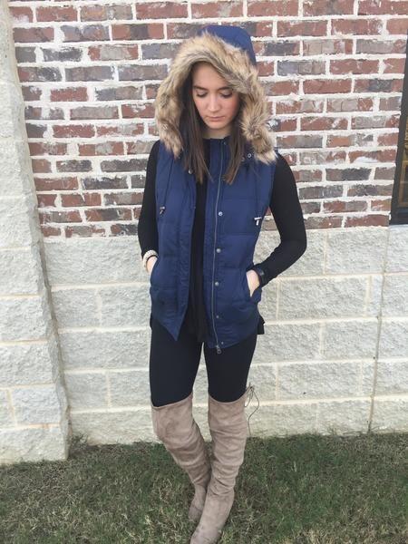 Into the snow we go fur vest