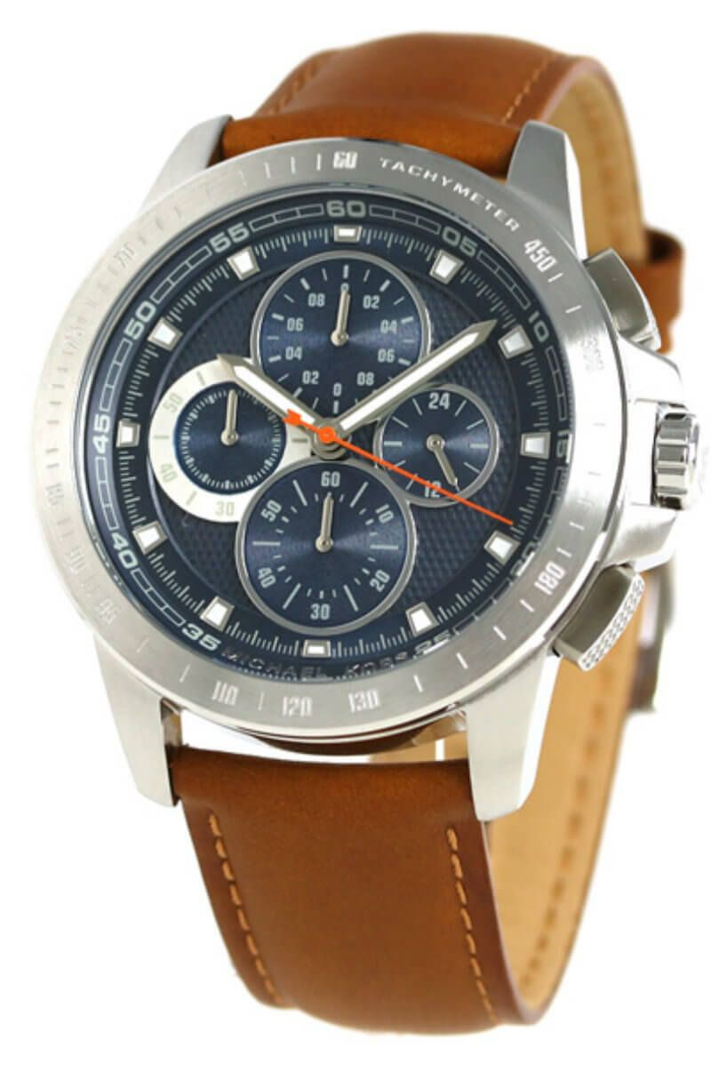 Buy this New   Authentic MK8518 Michael Kors Ryker Chronograph Blue Dial  BRN Leather Men Watch at a low price from watchwarehouse.com 3151c907f1