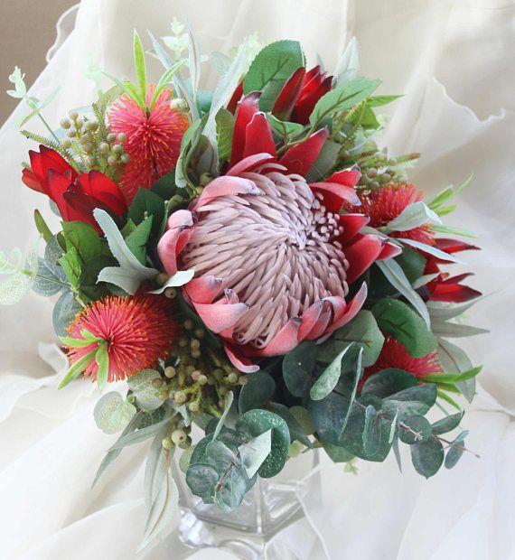 King protea bouquet wedding bouquet of rustic native for King protea flower arrangements