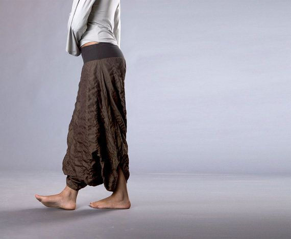 7626ed50d550f Drop Crotch Pants, Women Harem Pant, Wrinkled Brown Cotton Aladdin Pants,  baggy pants