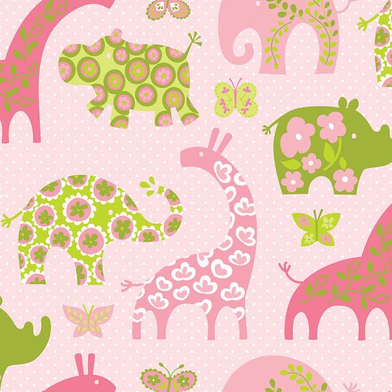 Animal Parade Pattern Animals Pink by Ana by spiceberrycottage, $9.25