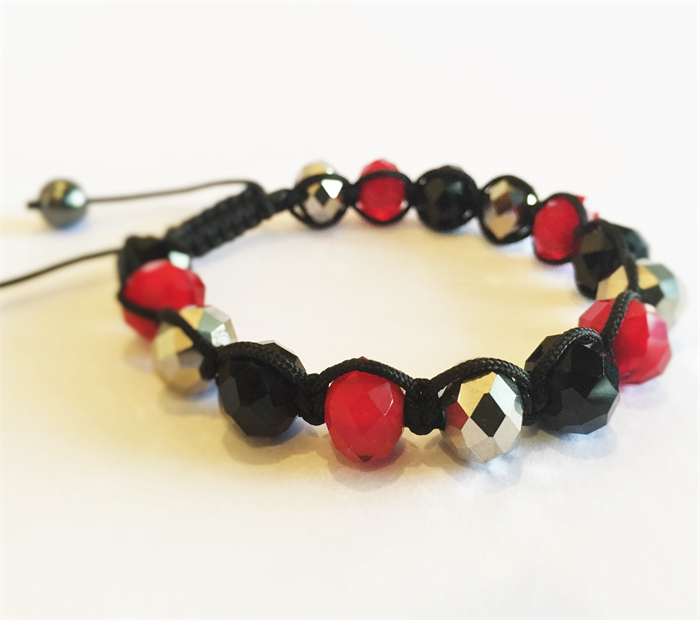 Red, Black and Silver Crystal Shamballa Bracelet with Hematite Beads