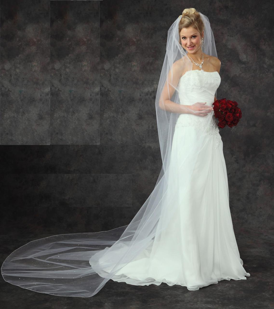 Affordable Elegance Bridal Cathedral Length Rhinestone