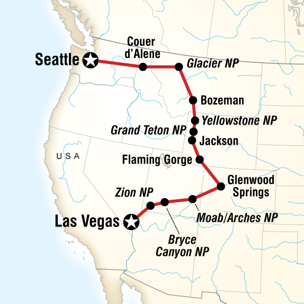 Map Of The Route For Northwest National Parks Road Trip In